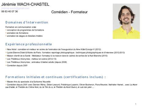 Exemple De Lettre De Motivation Formateur Pour Adultes Cv Comedien Formateur Jeremie Wach Chastel