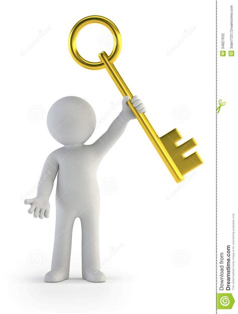 Home Design Gold 3d by 3d Small People Golden Key Stock Photography Image