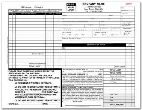 Florida Auto Repair Invoice Template Florida Approved Auto Repair Invoice Form 644