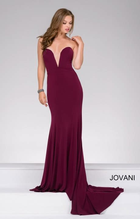 jovani  strapless deep  neckline jersey dress prom