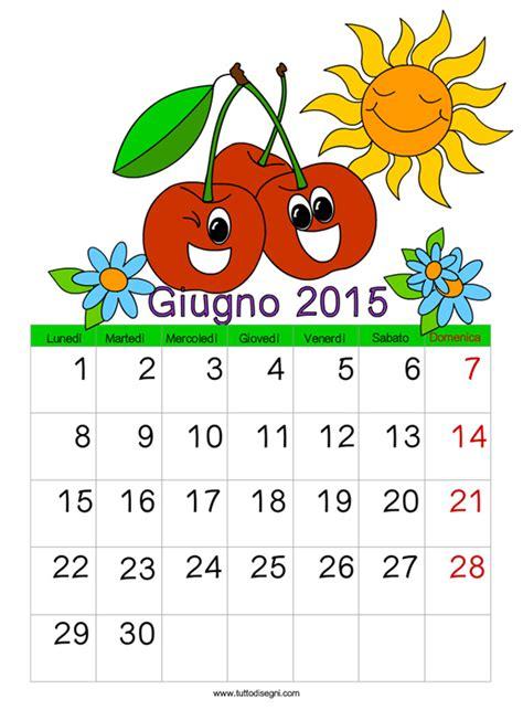 Calendario Giugno 2015 Calendario 2015 Giugno Tuttodisegni