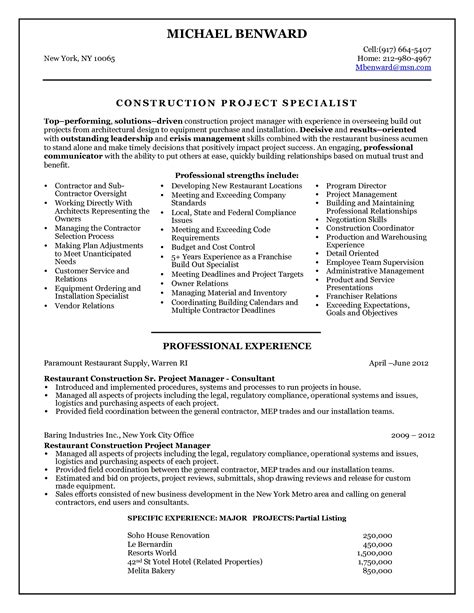 Resume Of Project Manager Construction 2016 Construction Project Manager Resume Sle Writing Resume Sle Writing Resume Sle