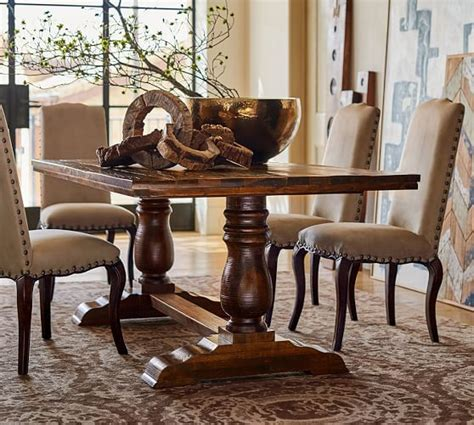 pottery barn dining room table bowry reclaimed wood fixed dining table pottery barn