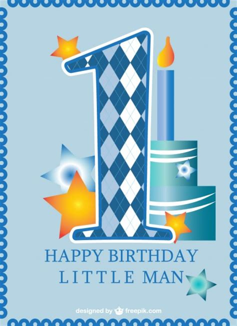 Happy Birthday Baby Boy Wishes First Birthday Card Baby Boy Vector Free Download