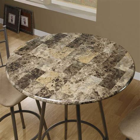 faux marble top pub table  cappuccino