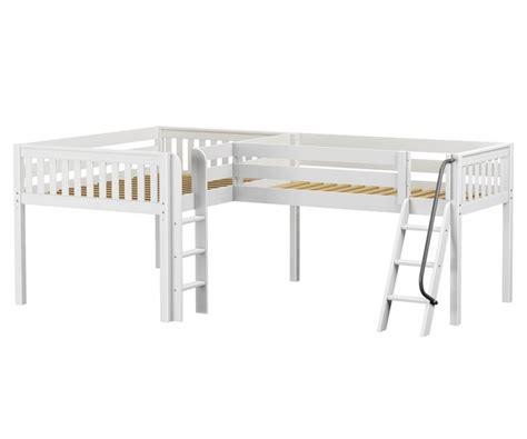 white full size loft bed maxtrix duet corner low loft bed bed frames matrix furniture