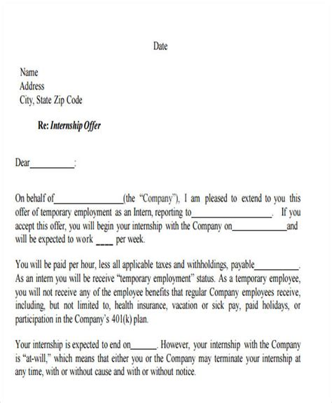 appointment letter format for temporary employee sle offer letter for temporary employee docoments