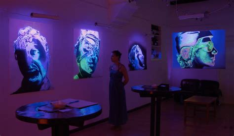 lights to illuminate paintings fluorescent paintings made by beo beyond cat in water