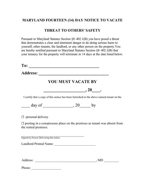 14 day eviction notice template maryland 14 day notice to quit form imminent danger