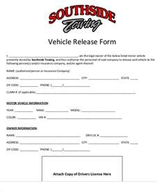 Motor Vehicle Form Template by Sle Vehicle Release Form 9 Exles In Word Pdf