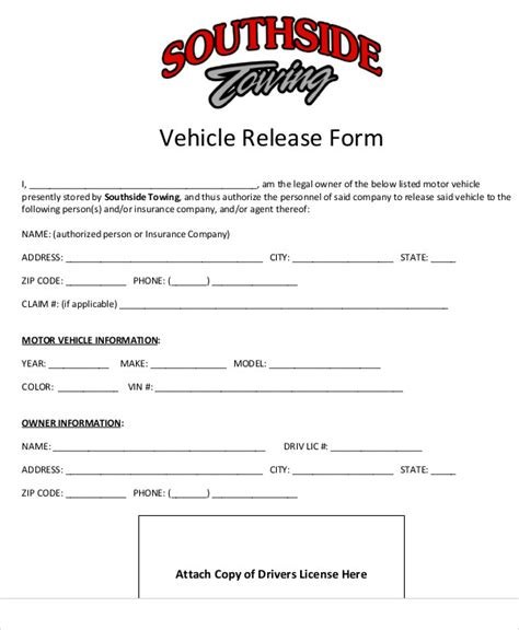 sample vehicle release form 9 examples in word pdf