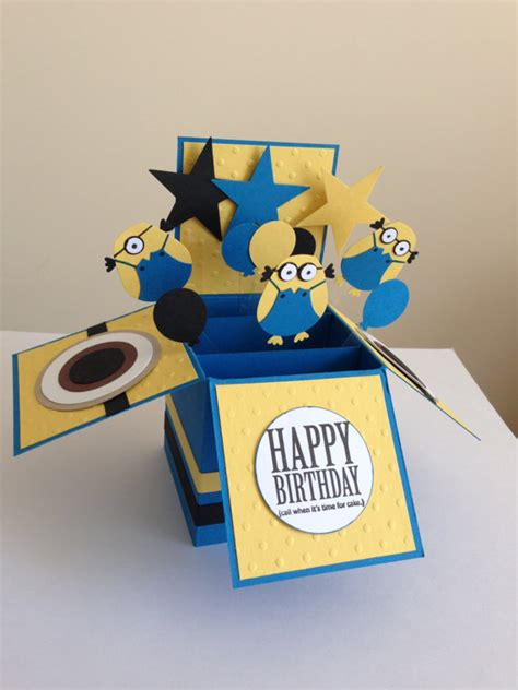 Handmade Minion Invitations - handmade happy birthday card in a box pop up