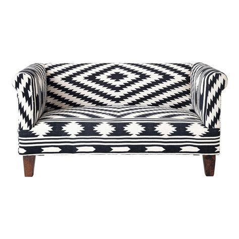 Black And White Loveseat 2 Seater Cotton Sofa Bench In Black And White Tabriz