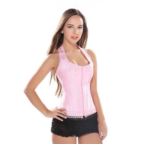 Pink Halter Corset Top Lace Flower Print Overbust Corset Vest Corsets Vangies Closet Pink Straps Hook Eye Overbust Corset Jacquard Lace Up Boned Bustier Bodyshaper Halter Neck