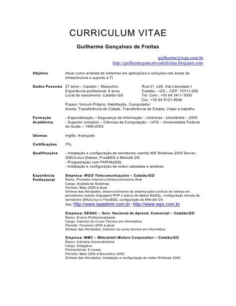 Modelo Curriculum Vitae Tecnico Informatica Guilherme Goncalves De Freitas Curriculum Vitae