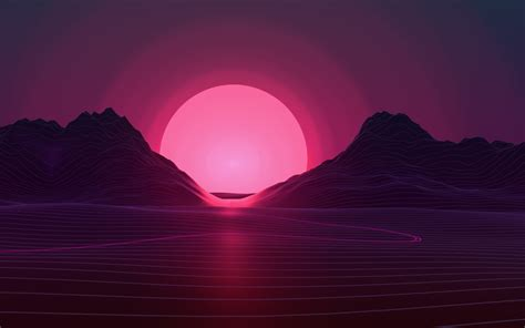 wallpaper 4k retro sun in retro wave mountains hd 4k wallpaper