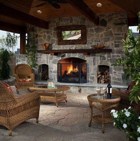 Outdoor Living Room With Fireplace | how to make your backyard feel like a resort install it