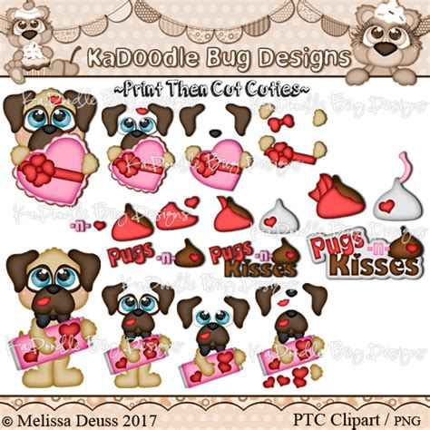pugs n kisses print then cut clipart kadoodle bug designs cut files digi sts clip