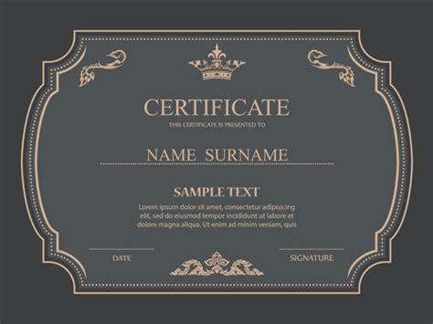 ornate certificate template vector free vector 4vector certificates ornate design vector template 01 vector