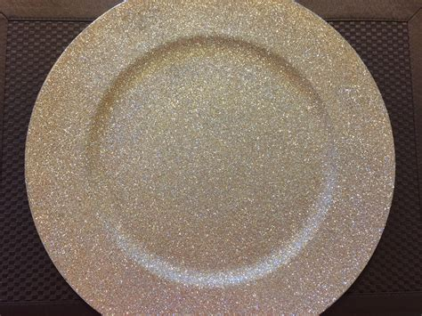 champagne gold glittered charger plate table settings