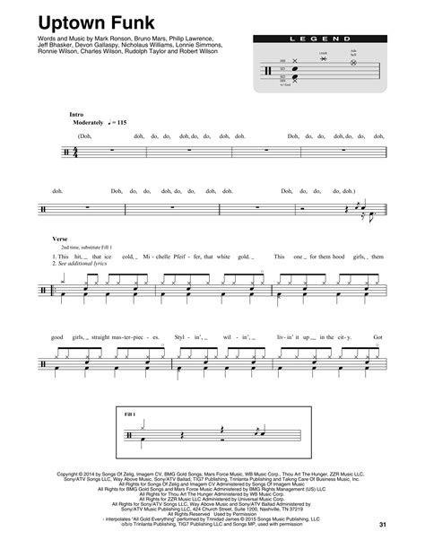 drum tutorial for uptown funk mark ronson ft bruno mars uptown funk sheet music