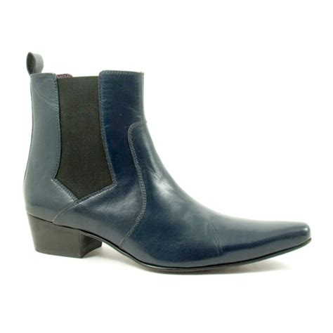 buy mens cuban heel navy chelsea boot gucinari style