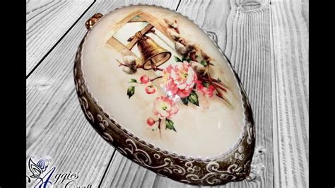 Easter Decoupage - decoupage tutorial easter egg with relief and wax paste