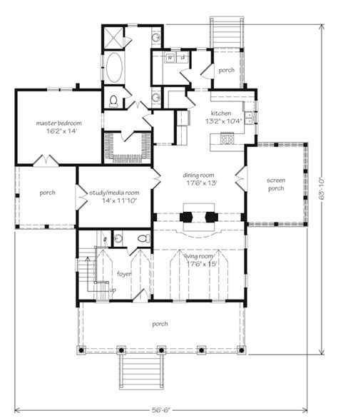 eastover cottage plan 1666 17 house plans with porches eastover cottage the main living area the hall way