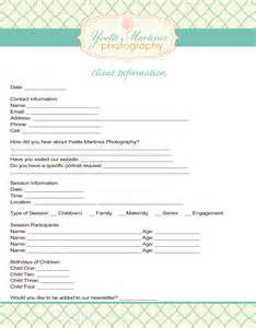 Photographer Information by Client Contact Sheet Template