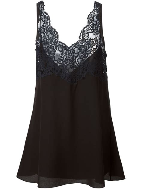 Lace Color Tank chlo 233 lace tank top in black lyst