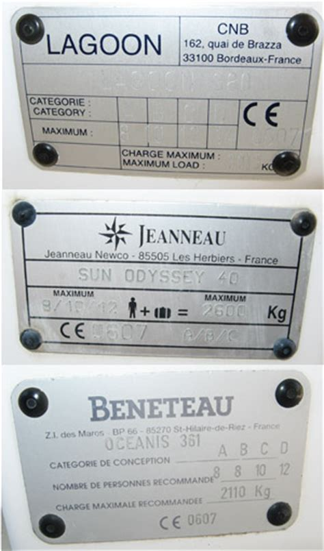 ce boat certification categories recreational craft directive ce plates