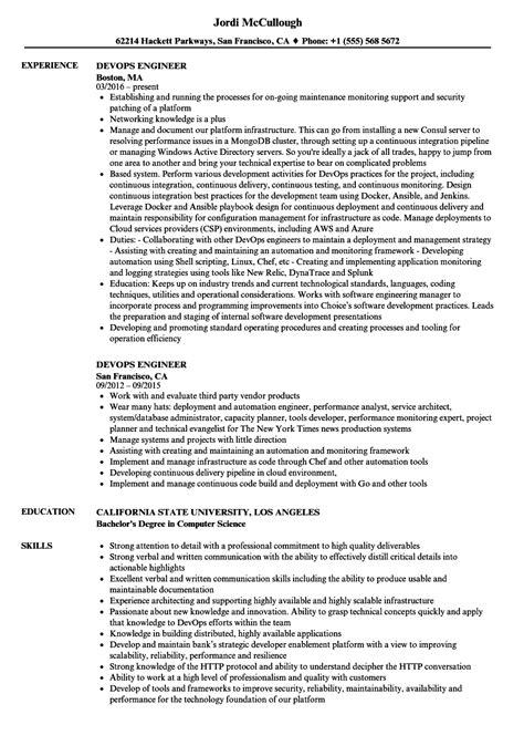 Devops Resume by Devops Engineer Resume Sles Velvet