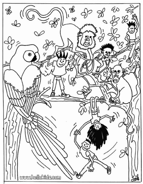 jungle scene coloring pages coloring home