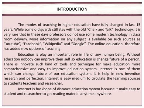 Thesis About Internet In Education | role of internet in education essay