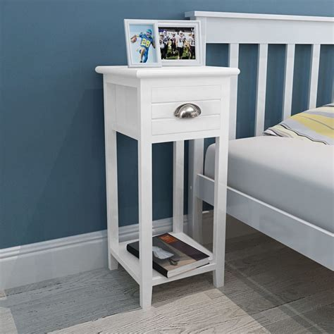 Bedside Cabinet / Telephone Stand with 1 Drawer White