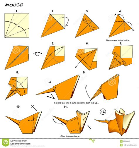 How To Make An Origami Mouse - origami mouse steps stock illustration image 69306629