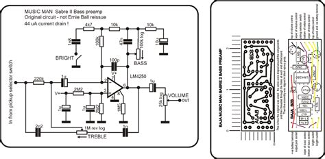 bass guitar pre schematic diagram circuit and