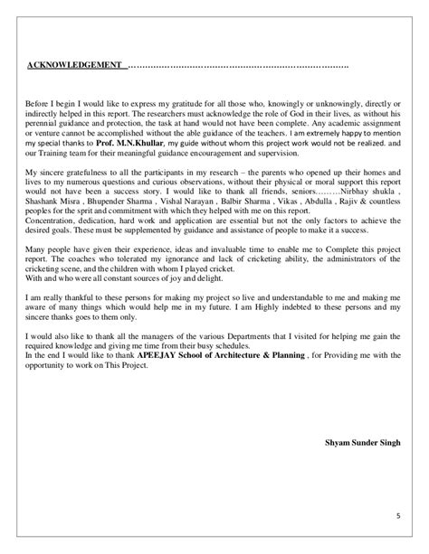 acknowledgement thesis architecture shyam thesis report
