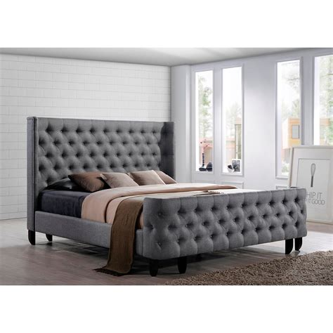 Tufted Headboard And Footboard Bed A Button Tufted Winged Headboard And Footboard Complete The Of The Platform
