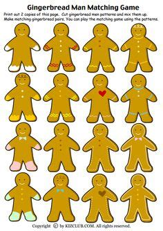 gingerbread man matching game printable made using the emotion words bears from dj s kidoodlez