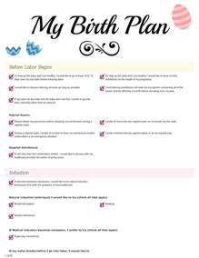 My Birth Plan Template by Birth Plan Archives Bliss Faith