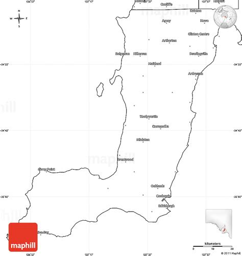 Blank Outline Map South Australia by Blank Simple Map Of Yorke Peninsula