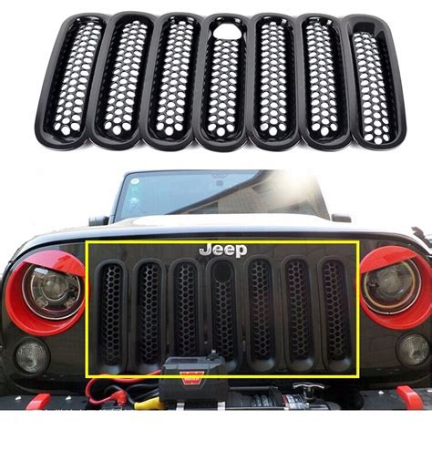 jeep grille inserts for jeep wrangler rubicon jk 07 15 7pc black mesh