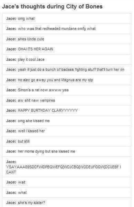 Jace's thoughts throughout the Mortal Instruments City of