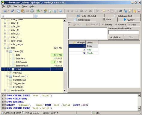 mysql create table exle mysql for excel manejando datos