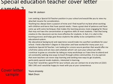 thank you letter to special ed special education cover letter