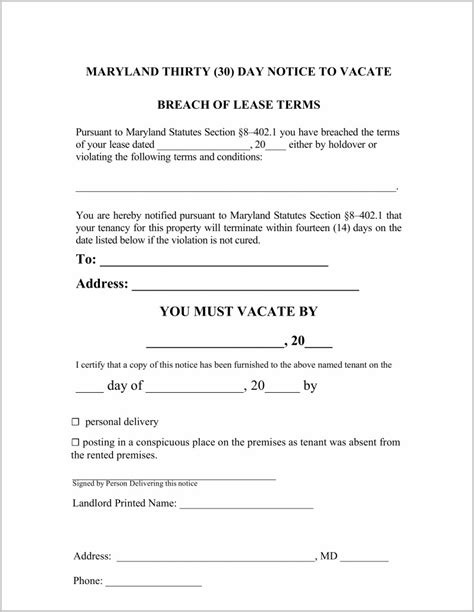 free notice forms free 30 day notice of eviction form form resume