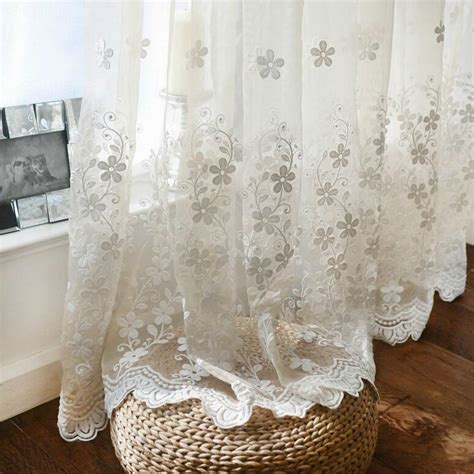 embroidered sheer curtain fashion solid color transparent flower lace embroidered