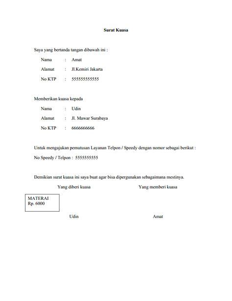 format surat kuasa speedy contoh surat kuasa berhenti berlangganan telpon atau