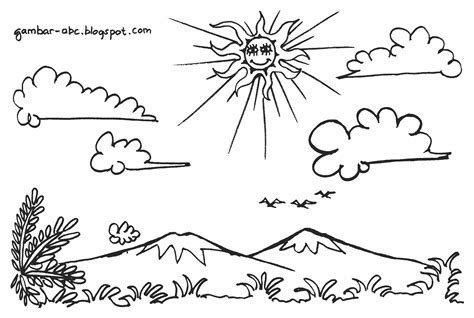 pemandangan langit cerah berawan contoh gambar mewarnai